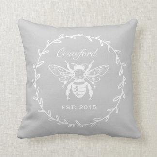 Gray Honey Bee Laurel Honeycomb Monogram Cushion