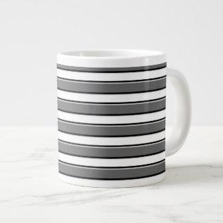 Gray Horizontal Stripes on White Coffee Mug Jumbo Mug
