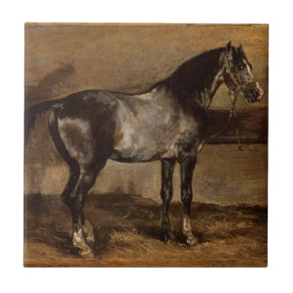 Gray horse rack by Theodore Gericault Ceramic Tile