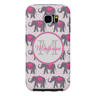 Gray Hot Pink Elephants on pink polka dots, name