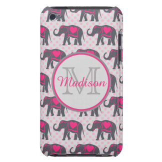 Gray Hot Pink Elephants on pink polka dots, name Barely There iPod Covers