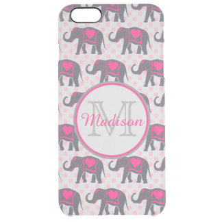 Gray Hot Pink Elephants on pink polka dots, name Clear iPhone 6 Plus Case