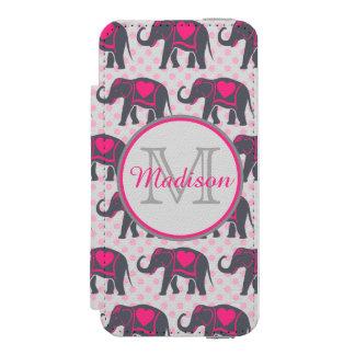 Gray Hot Pink Elephants on pink polka dots, name Incipio Watson™ iPhone 5 Wallet Case