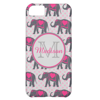 Gray Hot Pink Elephants on pink polka dots, name iPhone 5C Case