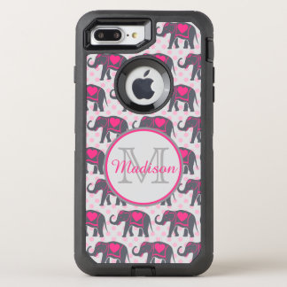 Gray Hot Pink Elephants on pink polka dots, name OtterBox Defender iPhone 8 Plus/7 Plus Case
