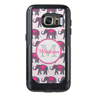 Gray Hot Pink Elephants on pink polka dots, name OtterBox Samsung Galaxy S7 Case