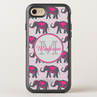 Gray Hot Pink Elephants on pink polka dots, name OtterBox Symmetry iPhone 8/7 Case