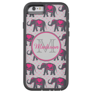 Gray Hot Pink Elephants on pink polka dots, name Tough Xtreme iPhone 6 Case