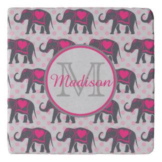 Gray Hot Pink Elephants on pink polka dots, name Trivet