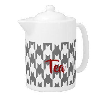 Gray Houndstooth Medium Teapot