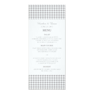Gray Houndstooth Wedding Menu 10 Cm X 24 Cm Invitation Card