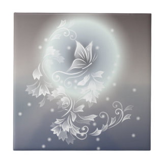 Gray Hues Floral Butterfly Fantasy Ceramic Tile