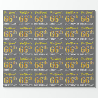 """Gray, Imitation Gold Look """"66th BIRTHDAY"""" Wrapping Paper"""