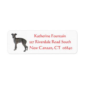 Gray Italian Greyhound Puppy Dog Red Return Address Label