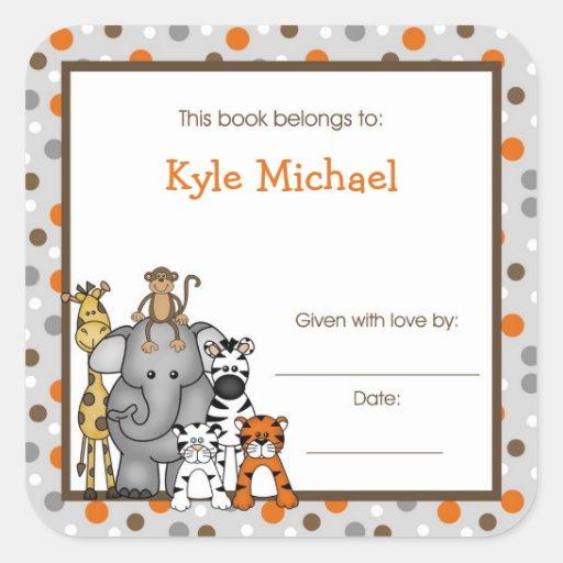 Gray Jungle Animals Book Plate bookplate label Square Stickers