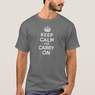 Gray Keep Calm and Carry On T-Shirt