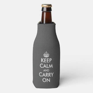 Gray keep calm and carry on template bottle cooler