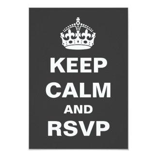 Gray Keep Calm Wedding RSVP Card