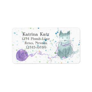 Gray Kitten Purple Yarn Label