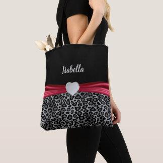 Gray Leopard Personalize Design Tote Bag