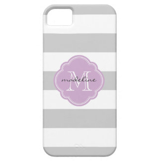 Gray & Lilac Purple Wide Stripes Custom Monogram iPhone 5 Cover