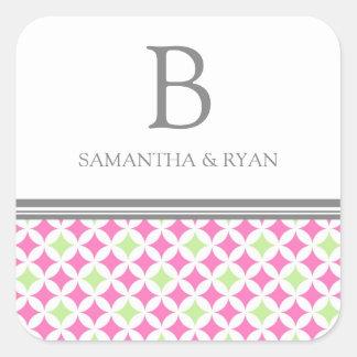 Gray Lime Pink Monogram Envelope Seal Square Sticker