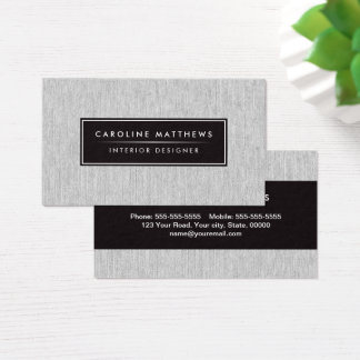 Gray linen elegant personal profile business card