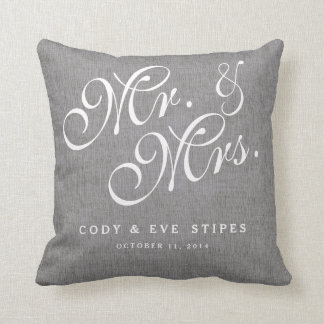 Gray Linen Initials Mr. and Mrs. Wedding Pillow Cushions