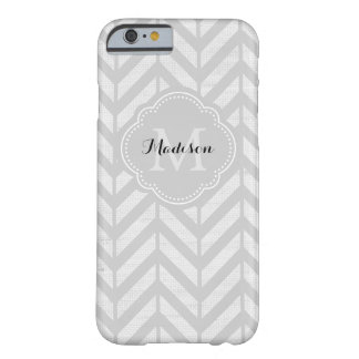 Gray Linen Look Chevron with Monogram Barely There iPhone 6 Case