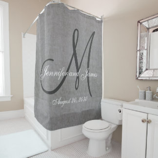 Gray Linen Look Monogram Names Wedding Shower Curtain