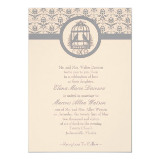 "Gray Lovebird Cage Wedding Invitation 5"" X 7"" Invitation Card"