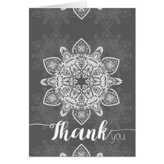 Gray Mandala Thank You   Note Cards