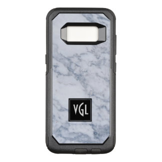 Gray Marble Texture Black Accent Monogram OtterBox Commuter Samsung Galaxy S8 Case