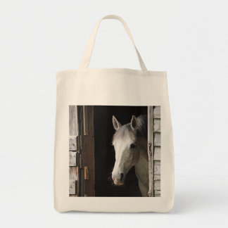 Gray Mare Horse Grocery Tote