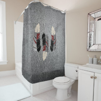 Gray, Maroon & Cream Feather Design on Grunge Gray Shower Curtain