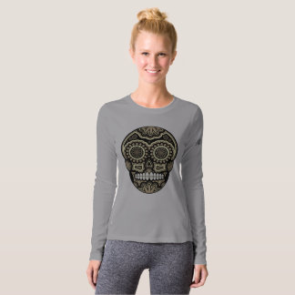 Gray Mexican Sugar Skull Day Of The Dead T-Shirt