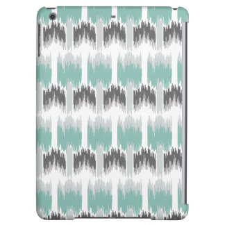 Gray Mint Aqua Modern Abstract Floral Ikat Pattern