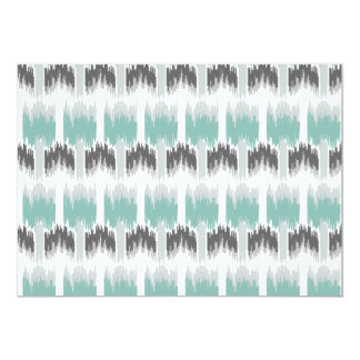 Gray Mint Aqua Modern Abstract Floral Ikat Pattern Card
