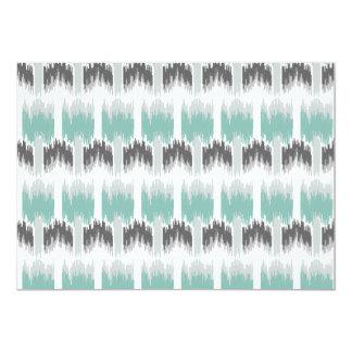 Gray Mint Aqua Modern Abstract Floral Ikat Pattern Card