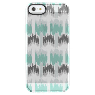 Gray Mint Aqua Modern Abstract Floral Ikat Pattern Clear iPhone SE/5/5s Case