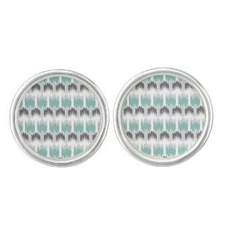 Gray Mint Aqua Modern Abstract Floral Ikat Pattern Cufflinks