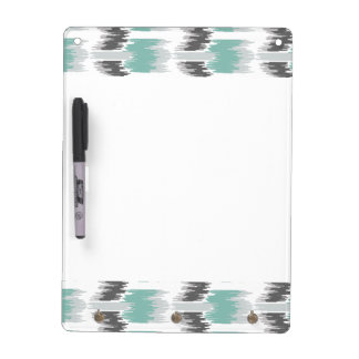 Gray Mint Aqua Modern Abstract Floral Ikat Pattern Dry Erase Board