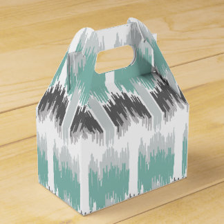 Gray Mint Aqua Modern Abstract Floral Ikat Pattern Favour Box