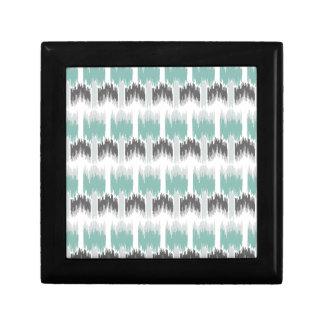 Gray Mint Aqua Modern Abstract Floral Ikat Pattern Gift Box