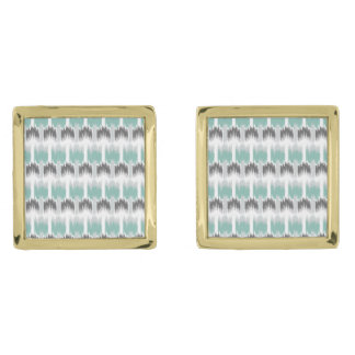 Gray Mint Aqua Modern Abstract Floral Ikat Pattern Gold Finish Cufflinks