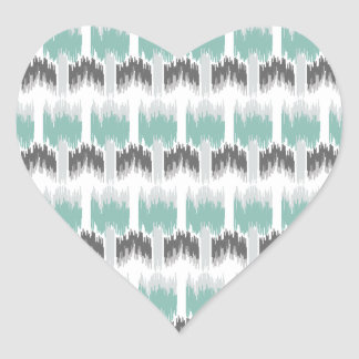 Gray Mint Aqua Modern Abstract Floral Ikat Pattern Heart Sticker
