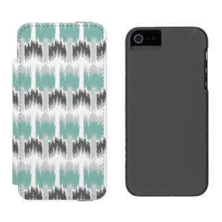 Gray Mint Aqua Modern Abstract Floral Ikat Pattern Incipio Watson™ iPhone 5 Wallet Case