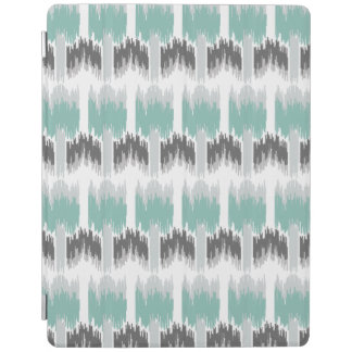 Gray Mint Aqua Modern Abstract Floral Ikat Pattern iPad Cover