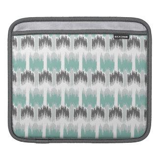 Gray Mint Aqua Modern Abstract Floral Ikat Pattern iPad Sleeve