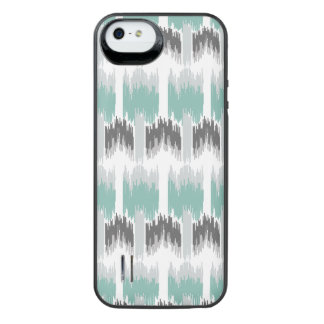 Gray Mint Aqua Modern Abstract Floral Ikat Pattern iPhone SE/5/5s Battery Case